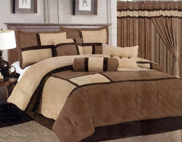 7 Piece Queen Size Comforter Set Micro Suede Brown Tan Bed
