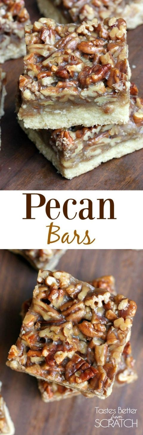 Pecan Bars | A thick shortbread soft cookie bar with the most amazing candy-like caramel pecan topping.