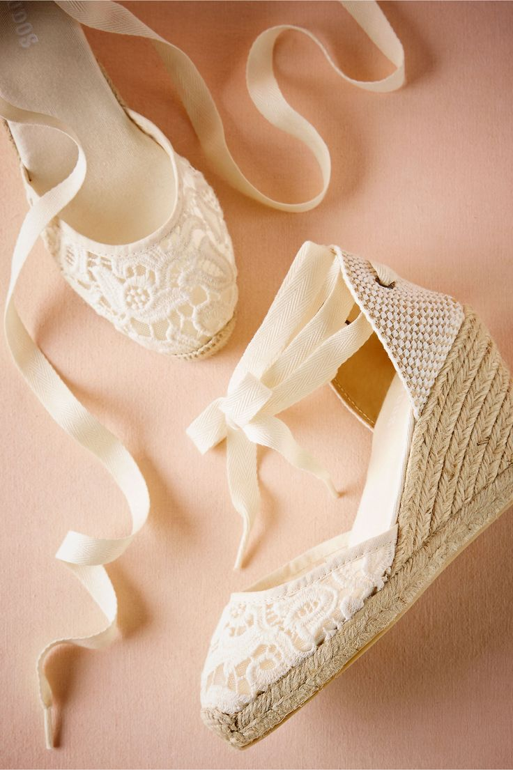 BHLDN Judith Lace Wedge in  Bride Bridal Shoes at BHLDN