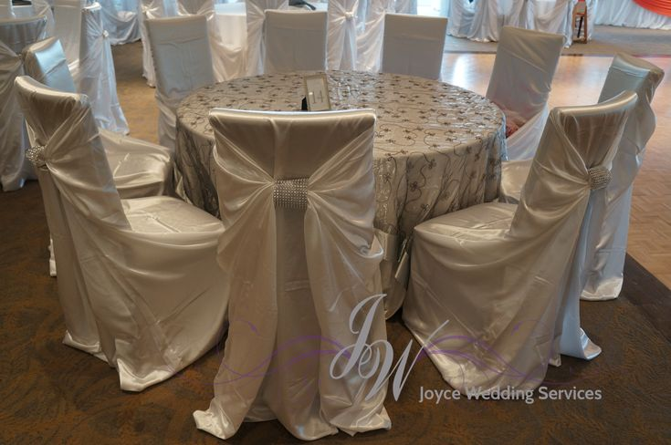 ivory,satin,chaircover, rhinestonebuckle,tableoverlay