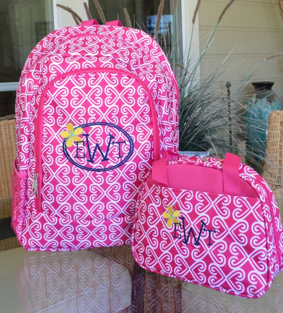 Personalization Name or Monogram Included A cute and trendy backpack, with matching lunch tote, perfect for back to class for College Students, High School Students, Jr. High students, or Elementary students. This would also make a great team backpack for cheer or gymnastics or