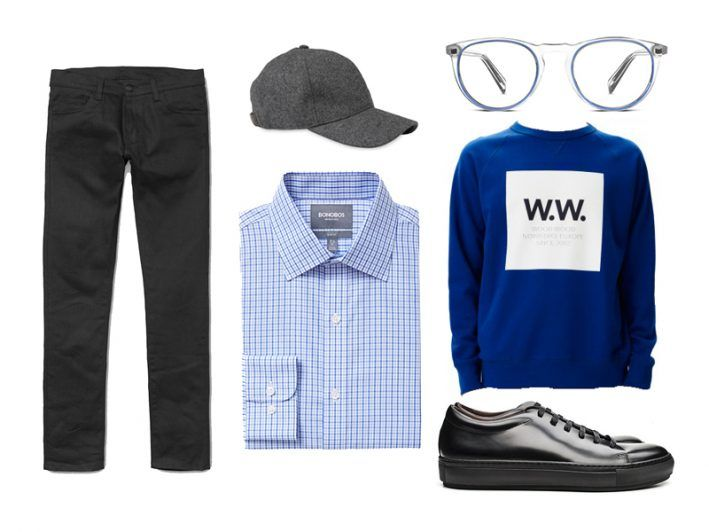 Bring your favorite work shirt into the weekend with a graphic sweatshirt and slim pants.