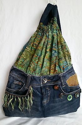 Handmade Up-cycled Jean Backpack Purse