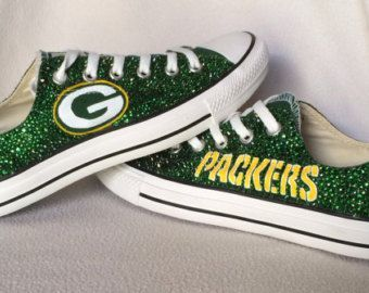 buy popular fc96b 61caa ... Custom painted Green Bay Packers converse shoes, with swarovski crystal  rhinestone embellishment Hand Painted Converse Hi.