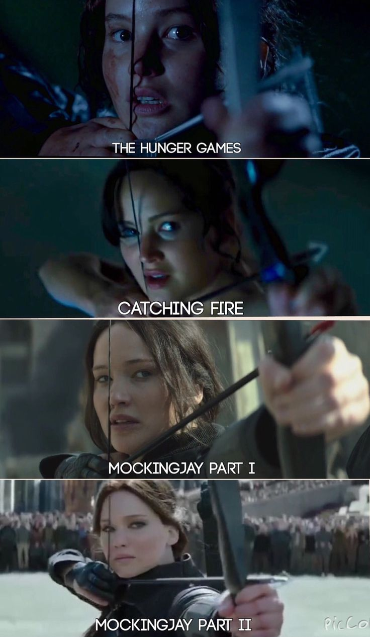 Her shooting the bow in all the movies!!! Repin if your in the Hinger Games fandom. Repin also if you are TEAM PEETA!