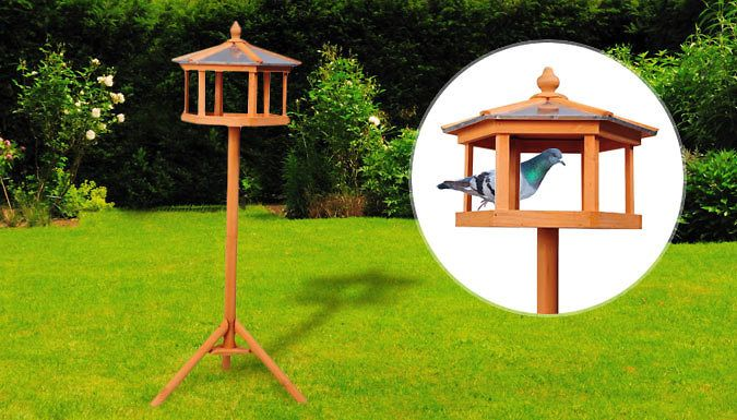 Buy PawHut Wooden Bird Table Feeder Station UK deal for just: £29.99 Grub's up at the PawHut Wooden Bird Table      Sturdy three-legged base with hexagonal feeder station at the top      Metal sheet roof and fir wood legs      Wood components treated for protection from weather      Overall dimensions: 113cm (H) x 40cm (W) x 40cm (D)      Easy to assemble       Save 67% on a PawHut Wooden Bird Table for 29.99 pound instead of 89.99 pound BUY NOW for just GBP29.99