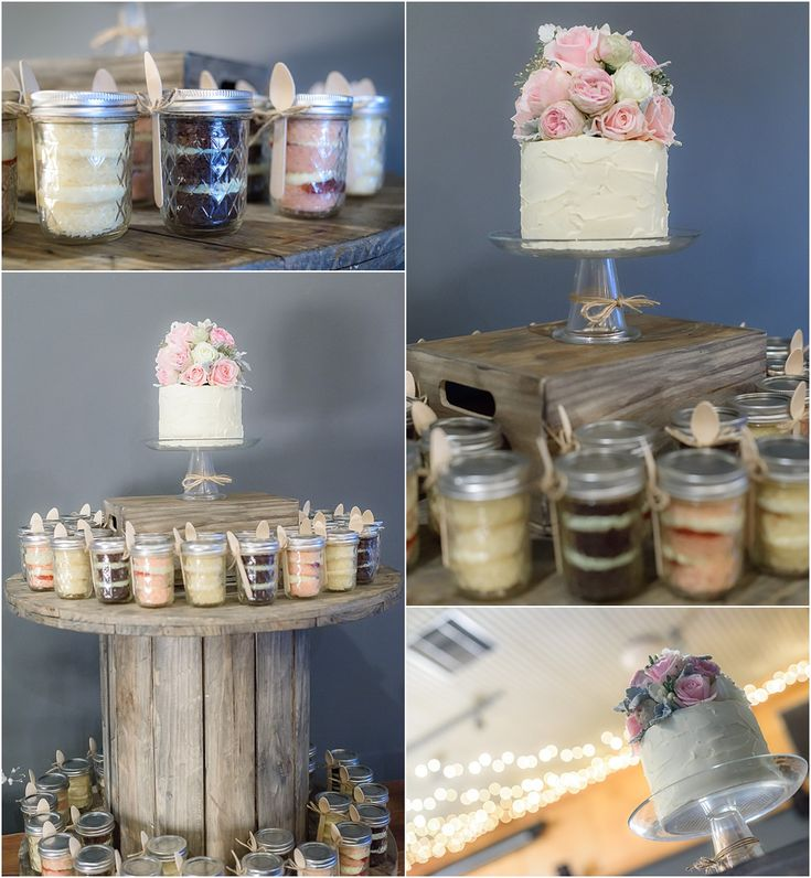 Osteria Wedding Styling How great does this look. Individual jars of wedding cake displayed on old rustic cable spool. Love!  #rustic #wedding #cake #inspiration