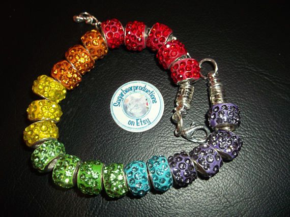 Silver #bracelet #Pride flag color lampwork glass crystal beads.