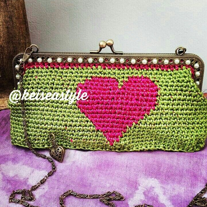 Crochet frame purse with tapestry heart motif made by m3
