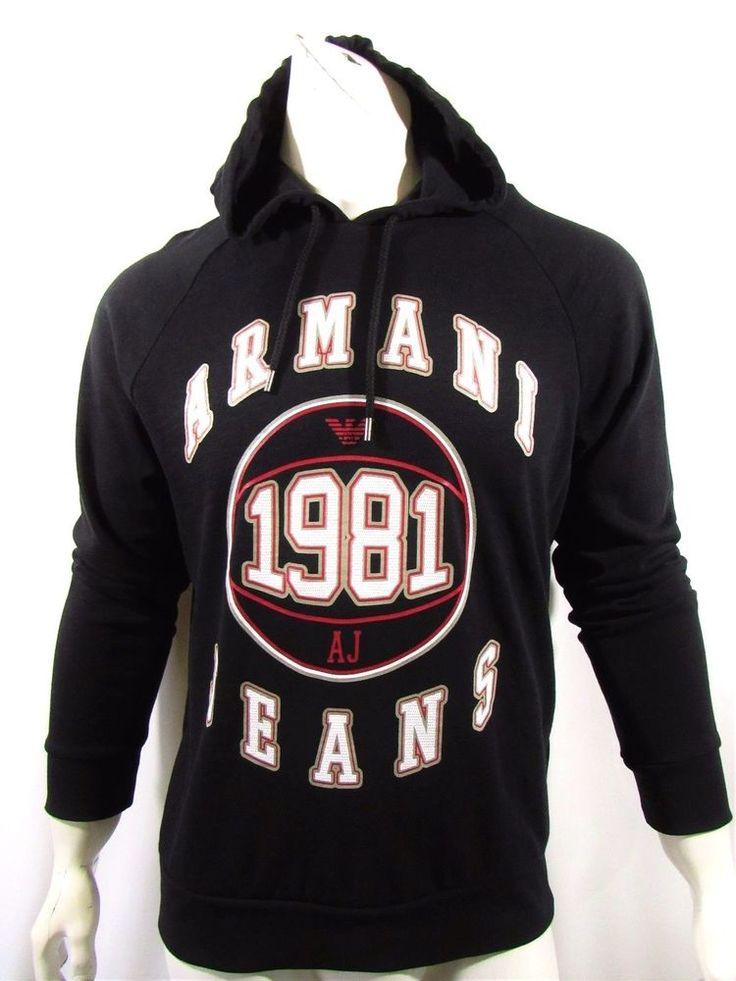 Armani Jeans graphic logo sweatshirt hoodie new color black MSRP$135.00 on sale  #ArmaniJeans #Hoodie
