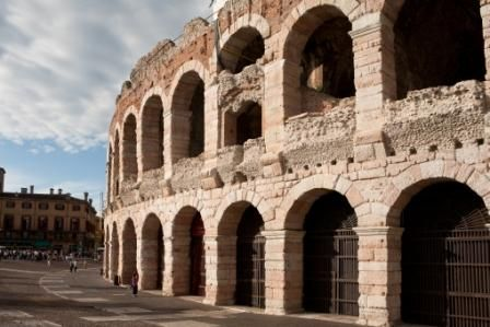 Situated in Piazza Bra', the Amphitheatre was built in the first half of the 1st century A.D., in the period which marked the end of Augustus' reign and the beginning of that of Claudius. It is the third largest amphitheatre in Italy, after the Colosseum and the amphitheatre of Capua.