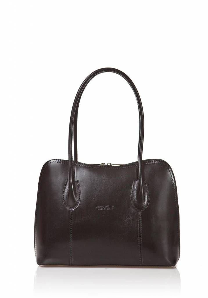 Schouder tas-handtas leder dubbel handvat Zwart kleur uit Italië