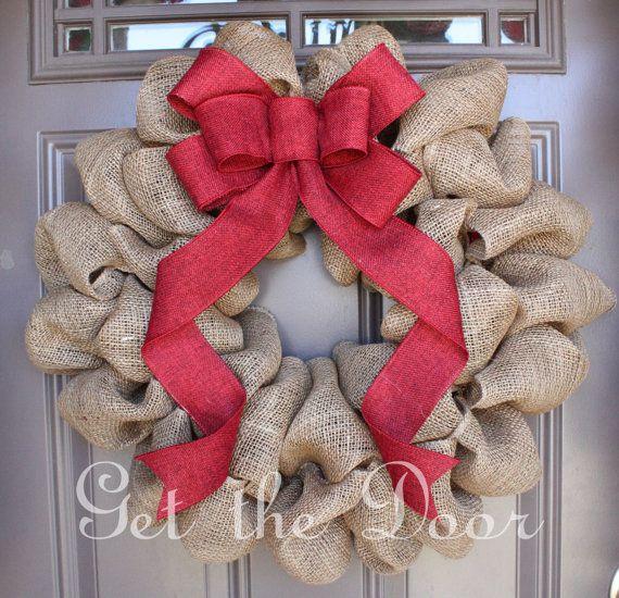 Arpillera guirnalda de Navidad, guirnalda de la Navidad, guirnalda de arpillera, arpillera guirnalda con lazo rojo elegante