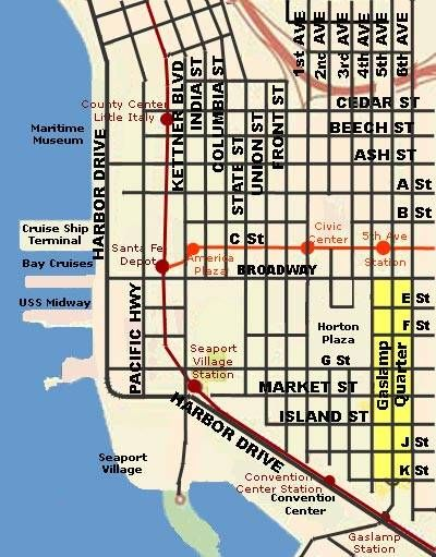 Downtown San Diego Trolley Map