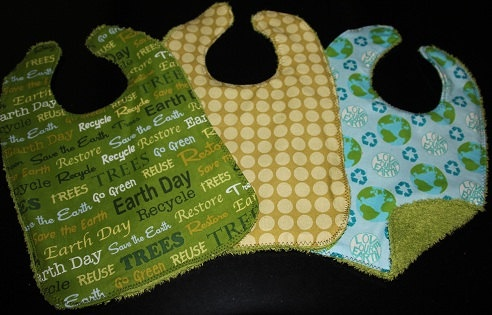 Love our Earth Baby Bib Gift Set of 3. $12.00, via Etsy.