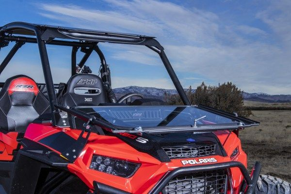 2016-2018 SuperATV Heavy Duty Scratch Resistant Flip Windshield for Polaris RZR XP Turbo//XP 4 Turbo Has 3 Different Settings! - For Models WITH Ride Command