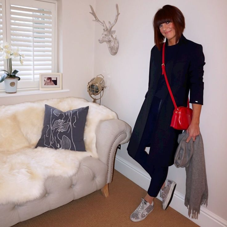 my midlife fashion, tommy hilfiger celeste classic coat, marks and spencer pure cashmere ribbed crew neck jumper, uterque mock croc cross body bag, j crew cameron slim fit trousers, and other stories oversized wool scarf, golden goose superstar glitter trainers