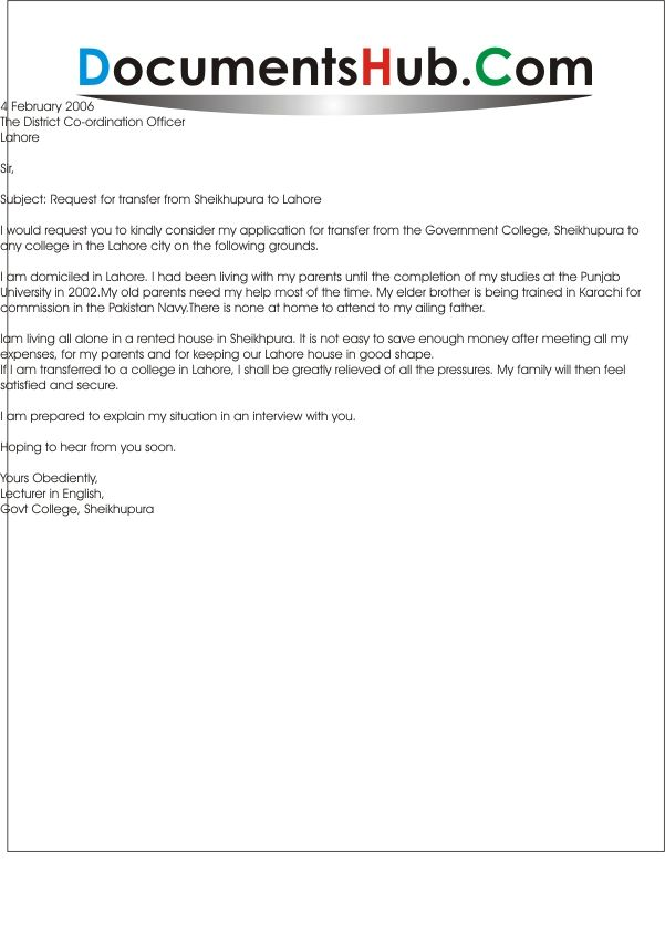 Sample Of Request Letter For Transfer To Other School Application Letter For School Branch