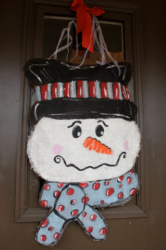 Snowman Burlap Door Hanger 335 best DOOR