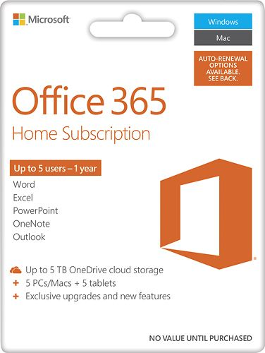 Office 365 Home, 1-year subscription, 5 PCs/Macs (Product Key Card) - Android|Mac|Windows|iOS - Larger Front