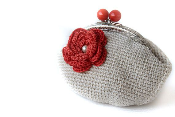 Coin Purse  Large Crochet Coin Purse  orange flower by LiveFashion