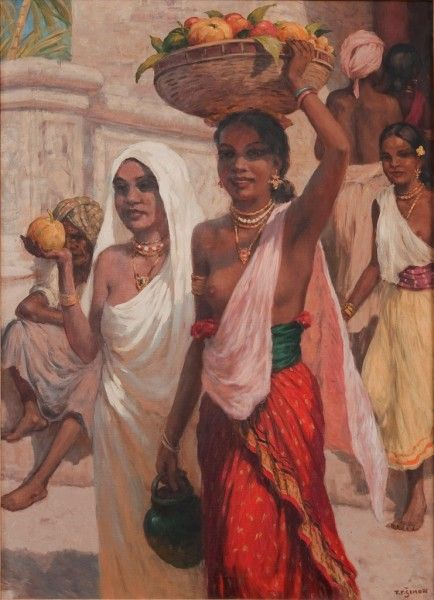 Three Women at the Temple of Candy, Ceylon Oil on canvas,100 x 73,5 cm,1928 byT F Šimon. Tavík František Šimon better known as TF Šimon (May 13, 1877 – December 19, 1942, Prague), was a Czech painter, etcher, and woodcut artist who travelled to Ceylon in the 1920's, who showcased numerous paintings of Ceylon both in books published by him & various exhibitions.