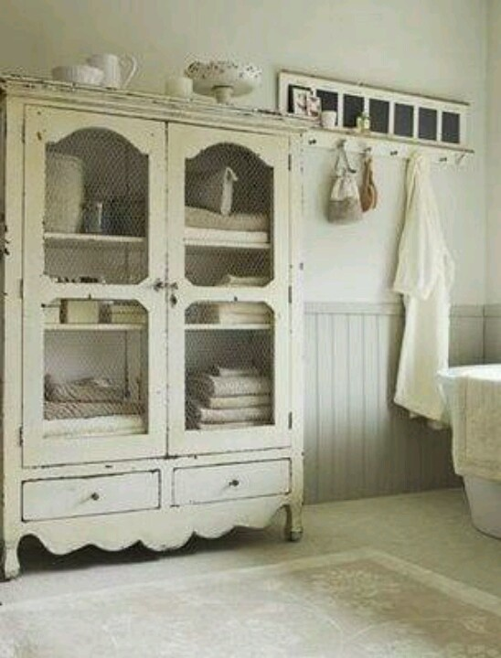 Armoire As Storage In A Great Bathroom