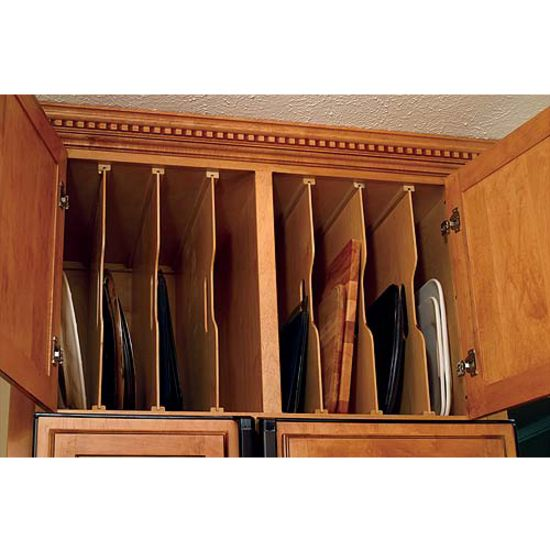 Another cabinet should have tray dividers for baking pans, cookie sheets and cooling racks.