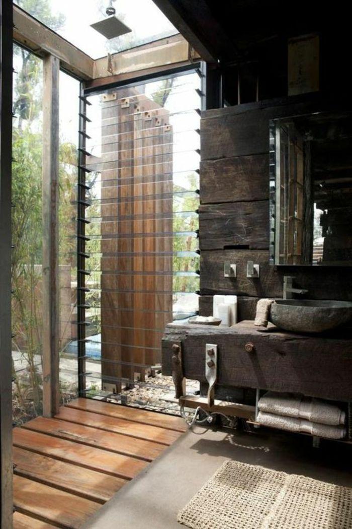 décoration salle de bain, salle de bain rustique industrielle, douche plain pied
