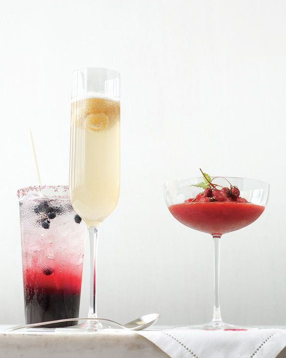 "Berries can also help put the ""fresh"" in refreshments. From far left: Greet guests with nonalcoholic blueberry soda, toast with golden raspberry Prosecco, or serve a signature drink like strawberry shochu -- a Japanese liquor similar to vodka --  with strawberry granita."