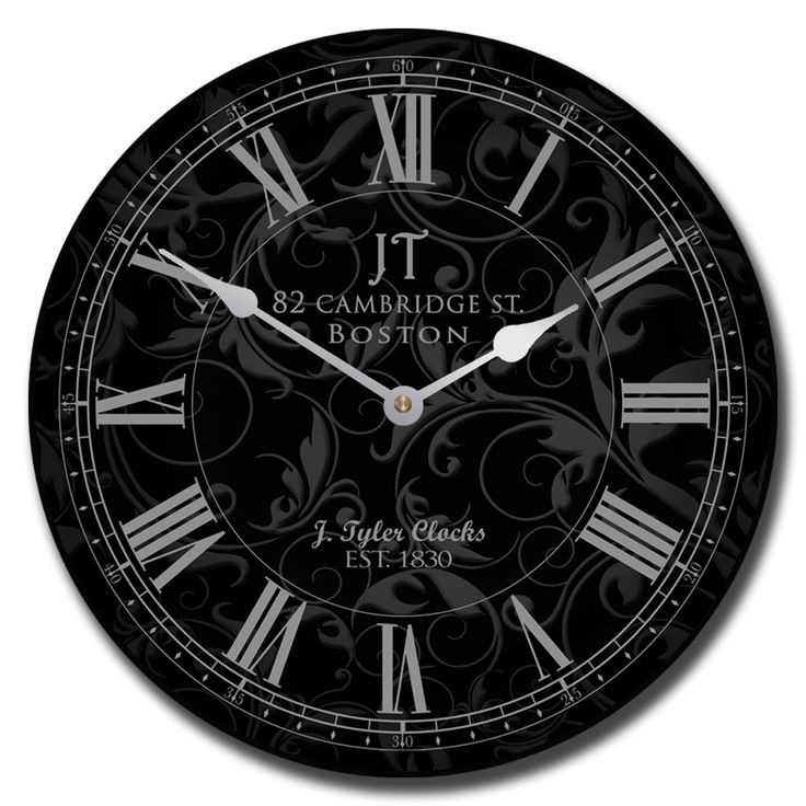Sydni Black Clock has a faded floral background. This is a very well made and pretty clock.