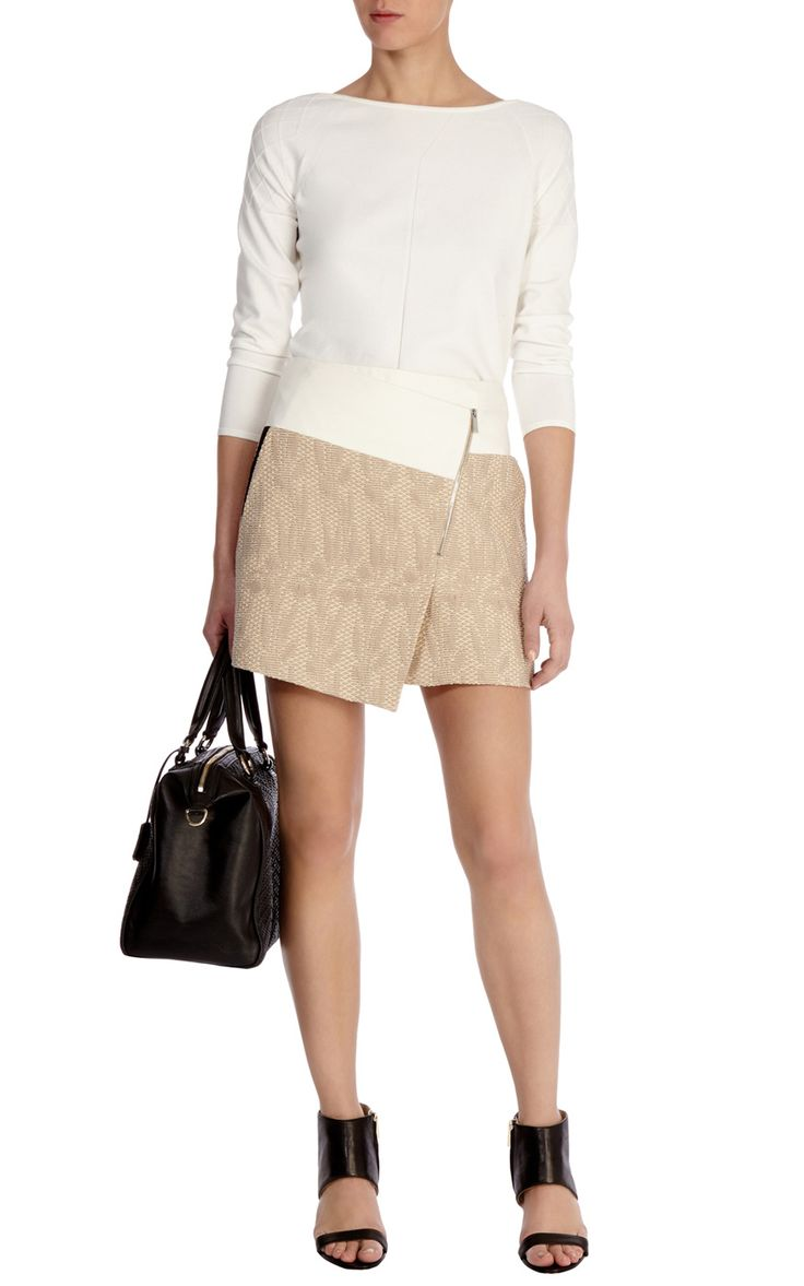 Colourblock Tweed Wrap Skirt | Luxury Women's promo | Karen Millen