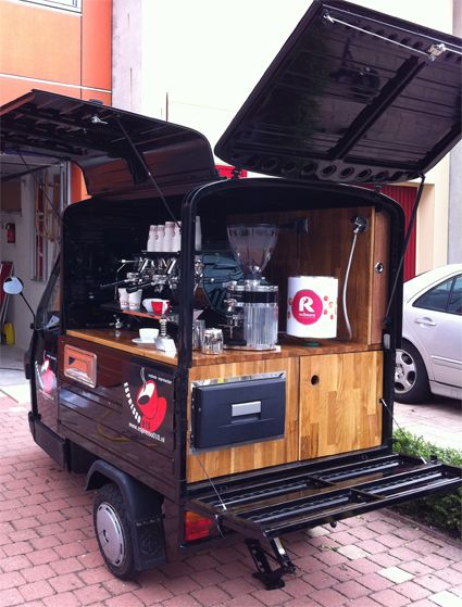 "Not all ""food trucks"" are trucks - this little guy makes a great mobile coffee cart."