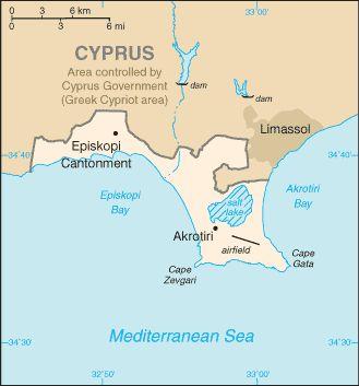 Map of Akrotiri, Western Sovereign Base Area, BFPO 57. ◆Akrotiri and Dhekelia - Wikipedia https://en.wikipedia.org/wiki/Akrotiri_and_Dhekelia #Akrotiri #British_Overseas_Territory