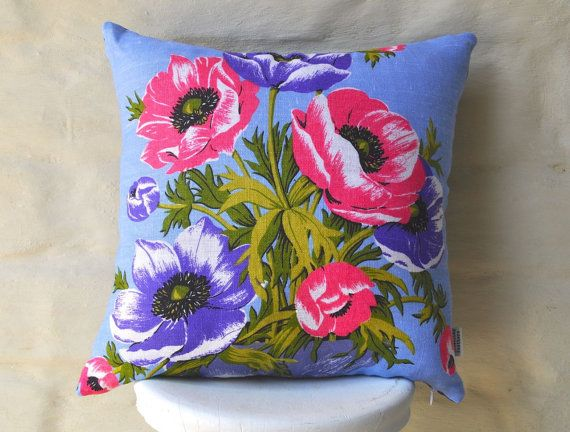 Bright poppies to liven up any room! Hot pink and purple poppies on a fresh powder blue background. Made with a vintage Irish linen tea towel,