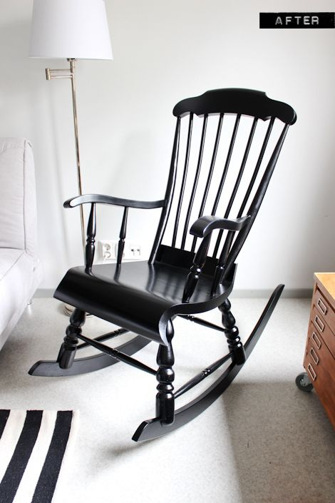 A nursery wooden rocking chair makeover with paint- so gna do this with the one my grandmother left me...