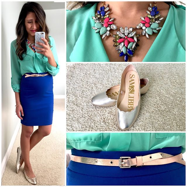 mint green blouse royal blue pencil skirt work wear