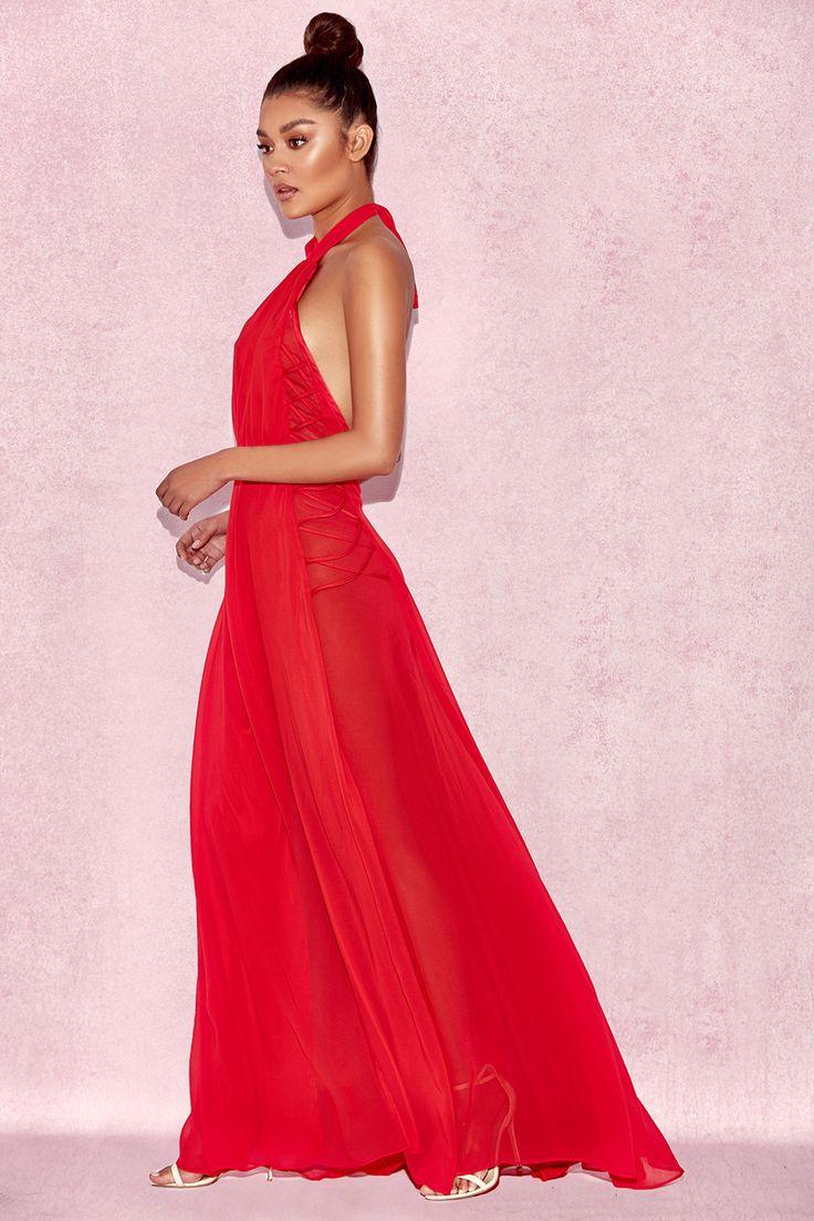 Clothing : Max Dresses : 'Ranada' Red Chiffon Criss Cross Maxi Dress