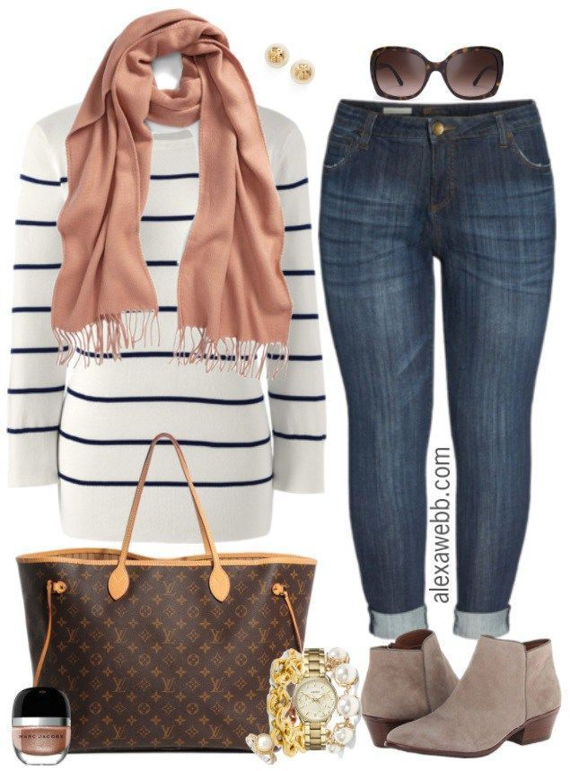 Plus Size Striped Sweater Outfit - Plus Size Fall Outfit Idea - Plus Size Fashion for Women - alexawebb.com #alexawebb #plusszie #plussizefashion
