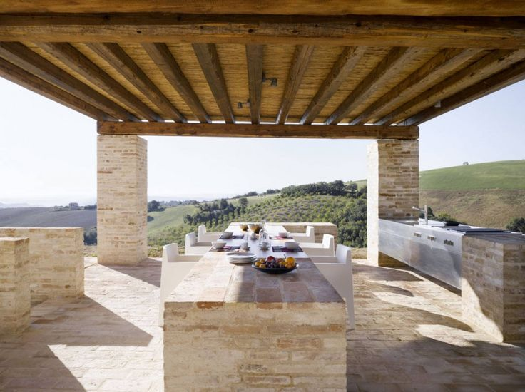 Terrace view of a house in Treia, renovated by Wespi de Meuron
