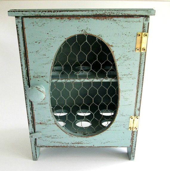 Rustic Wooden Egg Storage Box / Cabinet in Robins Egg Blue ...