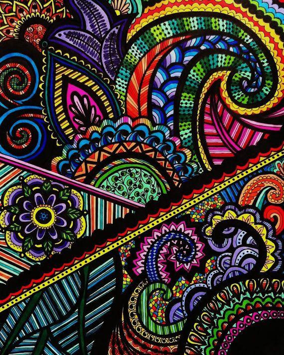 "Rainbow Henna Mehndi Drawing 8""x10"" Print Original Design by Katie N. Dunphy on Etsy, $16.13 CAD"