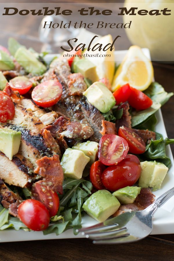 Double the meat, hold the bread BLT salad with an amazing lime cilantro dressing. Best. Dinner. Ever! ohsweetbasil.com