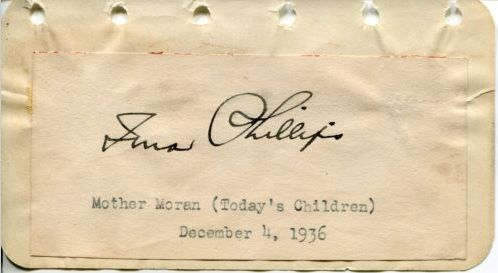 Irna Phillips' (Mother Moran) Autograph from December 4, 1936