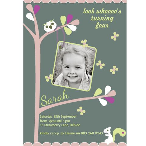 Woodland Folk Invitation | creativeparty.co.za A sweet woodland inspired invitation perfect for your little girls celebration. We have a team of designers waiting to personalise your child's name and photo into this selected theme . All you need to do is choose how many invitations you need, send us the party details and photo and we will take care of the rest.