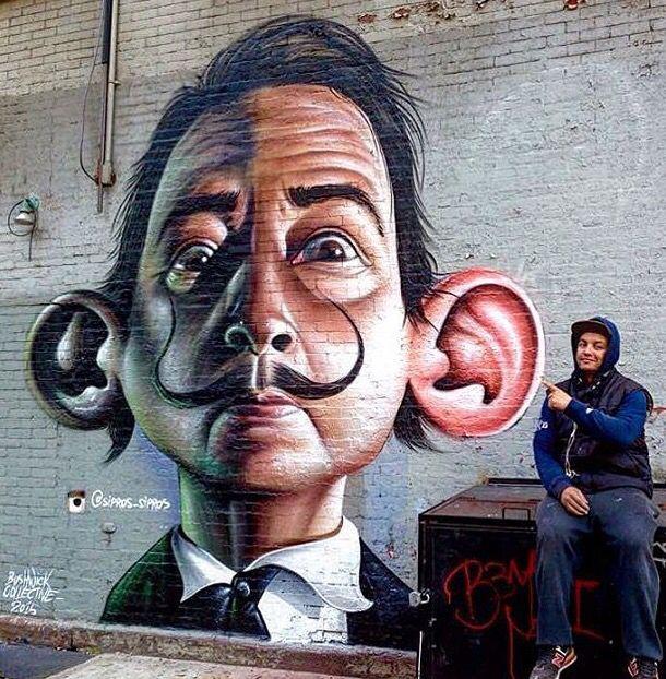 Les murs ont des oreilles... / Dali. / Street art. / Brooklyn, USA.