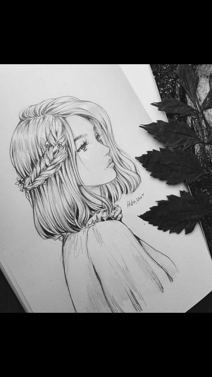 Drawing of beautiful girl drawing art girl