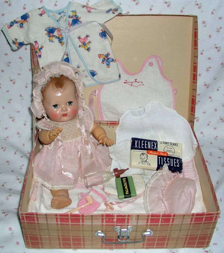 "images of tiny tears doll | RARE 1950 American Character 13.5"" TINY TEARS Doll in RED Plaid Carry ..."