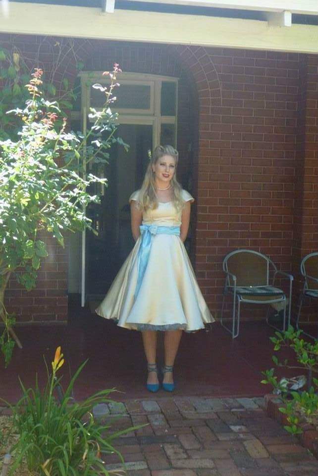 My swing style dress I had made in Bali complete with blue petticoat (bought online).