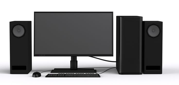 Workplace PC speakers, tft monitor, and mouse